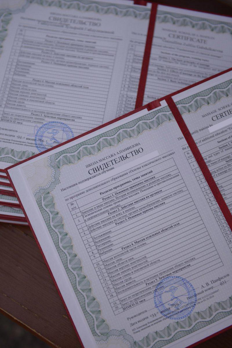 Документ установленного образца выдаваемый студентам окончившим курсы массажа школы Панфилова